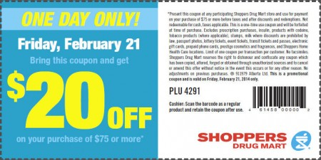 Shoppers Drug Mart $20 Off Purchase of $75 Printable Coupon (Feb 21)