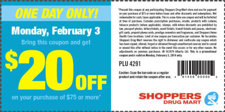 Shoppers Drug Mart $20 Off Purchase of $75 Printable Coupon (Feb 3)