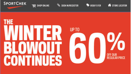 Sport Chek Winter Blowout Sale Continues - Save up to 60 Off (Until Feb 10)
