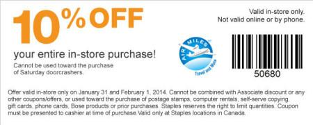 Staples Customer Appreciation Days - 10 Off Entire Purchase (Jan 31 - Feb 1)