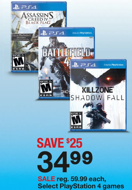 Target Playstation 4 games only $34.99 each (Save $25)