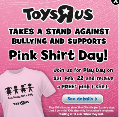 Toys R Us Play Day - FREE Kid Pink T-Shirt (Feb 22, 11am-1pm)