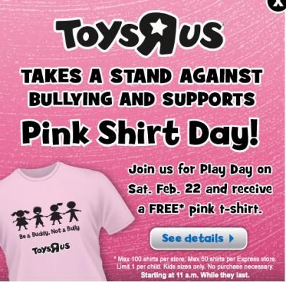 Toys R Us Play Day - FREE Kid Pink T-Shirt (Feb 22, 11am-1pm)