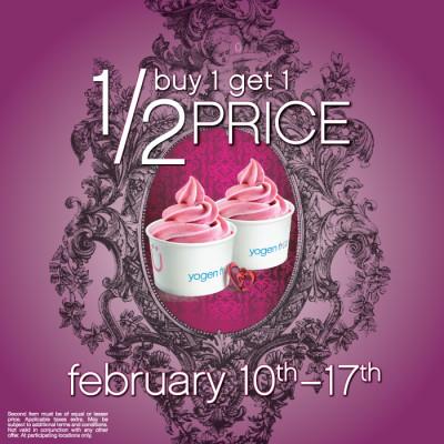 Yogen Fruz Valentine's Deal - Buy 1, Get 1 50 Off (Feb 10-17)