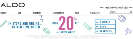 Aldo Shoes Extra 20 Off All Merchandise In-store and Online
