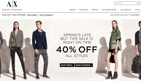 Armani Exchange Extra 40 Off Everything In-Stores and Online