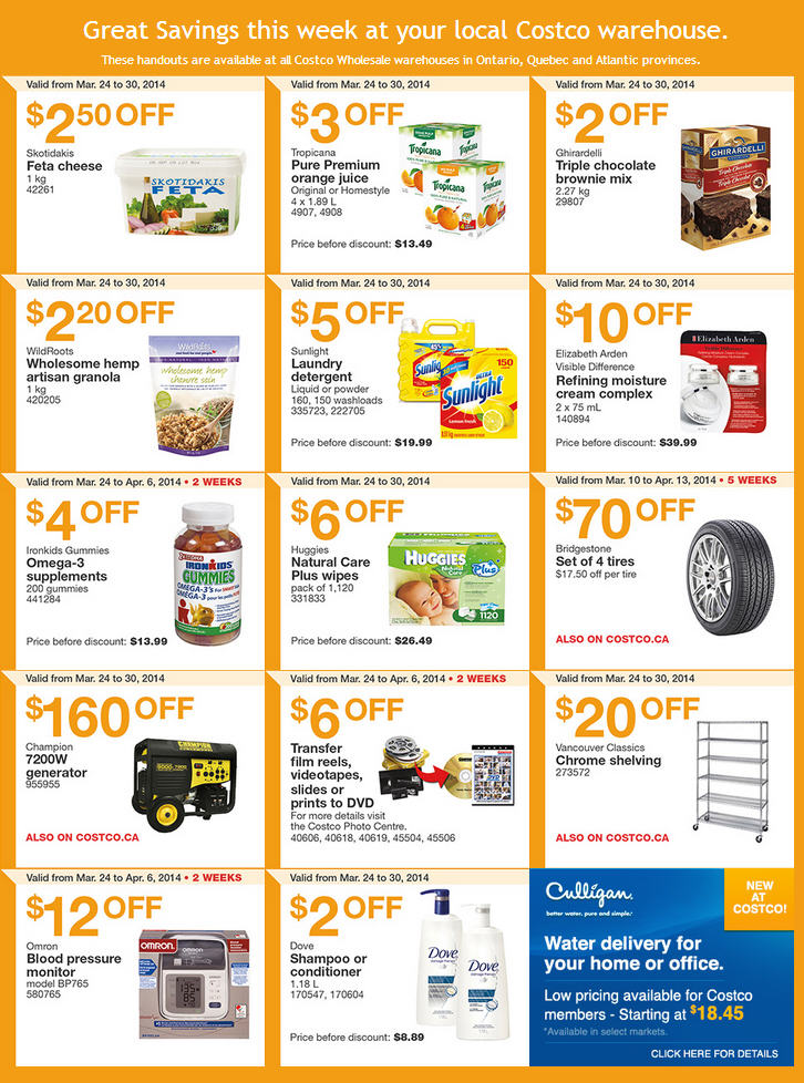 Costco Weekly Handout Instant Savings Coupons East (Mar 24-30)