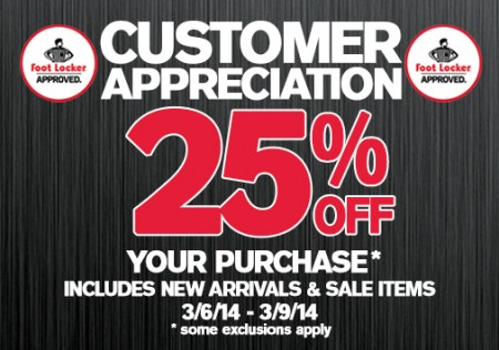 Foot Locker Customer Appreciation - 25 Off Your Purchase (Until Mar 9)