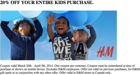 H&M 20 Off Coupon Entire Kids Purchase