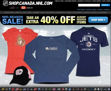 NHL Shop Mid-Season Sale - Extra 40 Off Sale Items