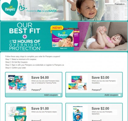 P&G brandSAVER Pampers Diaper and Wipes Coupons
