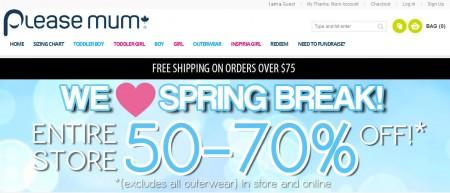 Please Mum Spring Break Sale - 50-70 Off Entire Store