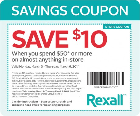 Rexall Pharma Plus $10 Off Coupon when you Spend $50 (March 3-6)