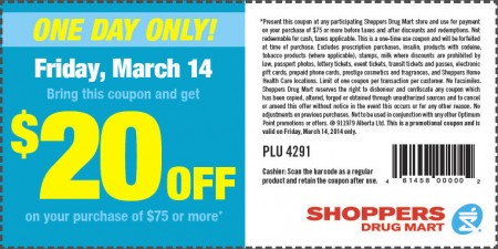 Shoppers Drug Mart $20 Off Coupon on $75 Purchase (Mar 14)