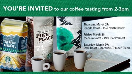 Starbucks FREE Coffee Tasting (Mar 27-29, from 2-3pm)