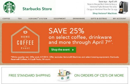 Starbucks Store Home Coffee Event - Save 25 Off select Coffee, Drinkware and More (Until Apr 7)
