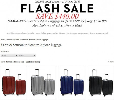 TheBay.com Flash Sale - Samsonite Venture 2-Piece Luggage on sale for $129 - Save $440 (Mar 5)