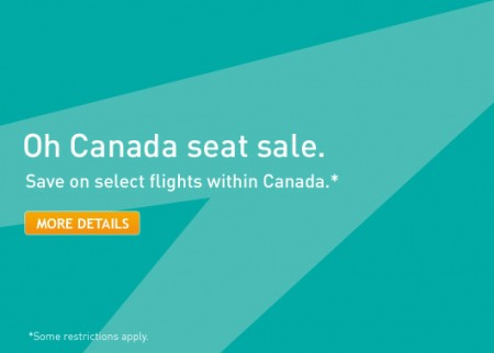 WestJet Oh Canada Seat Sale (Book by Mar 30)