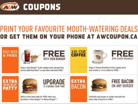 A&W New Printable Coupons - Buy Teen Burger, get FREE Root Beer and Fries (Until Apr 20)