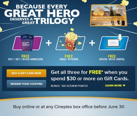 Cineplex Buy $30 Gift Card, Get Free Coupons (Until June 30)