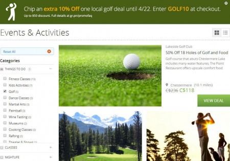 Groupon Extra 10 Off All Golf Deals Promo Code (Apr 22 Only)