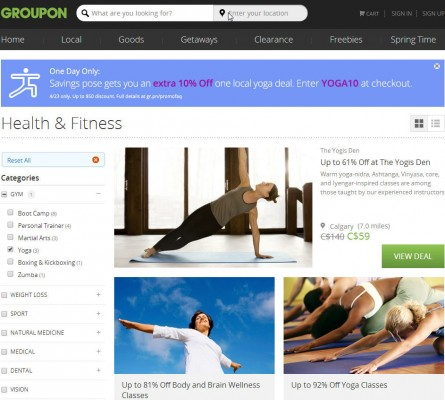 Groupon - Extra 10 Off All Yoga Deals Promo Code (Apr 23 Only)
