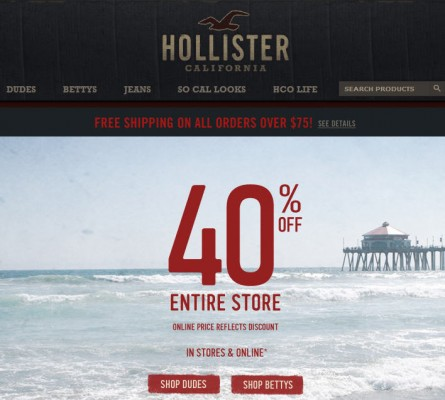 Hollister 40 Off Entire Store