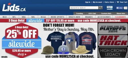 Lids Mother's day Special - 25 Off Sitewide (Apr 28-30)