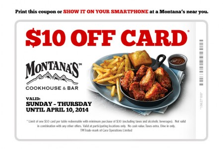 Montana's Cookhouse $10 Off Coupon (Until Apr 10)