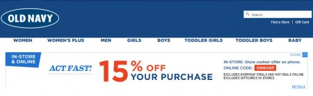 Old Navy 15 Off Your Purchase, In-Store or Online (Apr 24-25)
