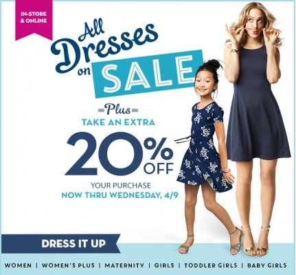 Old Navy Extra 20 Off Your Purchase + All Dresses on Sale (Until Apr 9)