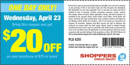 Shoppers Drug Mart $20 Off Coupon on $75 Purchase (Apr 23)
