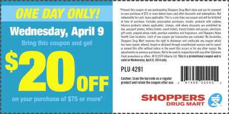 Shoppers Drug Mart $20 Off Coupon on $75 Purchase (Apr 9)