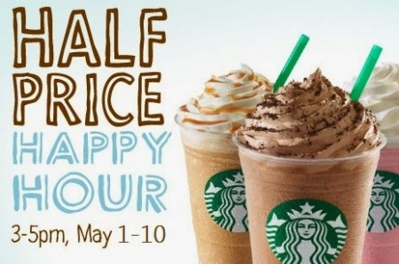 Starbucks 50 Off Frappuccno Happy Hour from 3-5pm (May 1-10)