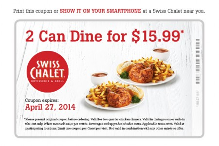 Swiss Chalet 2 Can Dine for $15.99 Coupon (Until Apr 27)