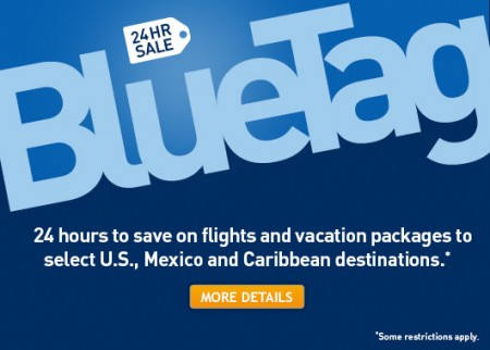 WestJet 24 Hour BlueTag Sale - Save on select Flights and Vacation Packages (Book by Apr 25)