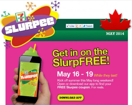 7 Eleven FREE Slurpee Coupon on Mobile App (May 16-19)