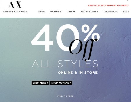 Armani Exchange 40 Off All Styles In-Store and Online (Until May 26)