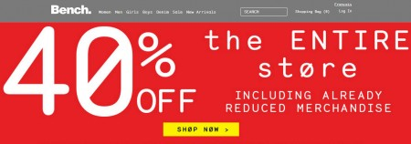 Bench Family & Friends Sale - 40 Off Entire Store (Until May 19)