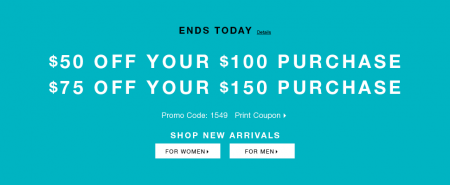 Express $50 Off $100 Purchase, or $75 Off $150 Purchase Coupon (Until May 4)