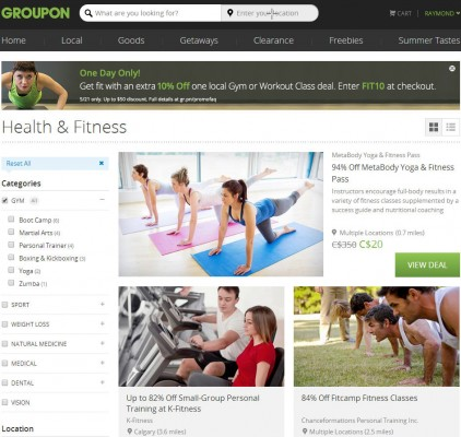 Groupon Extra 10 Off Local Gym or Workout Class Deal Promo Code (May 21 Only)