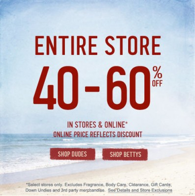 Hollister Co Save 40-60 Off Entire Store