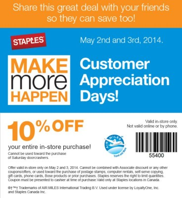 Staples Customer Appreciation Days - 10 Off In-Store Purchase Coupon (May 2-3)