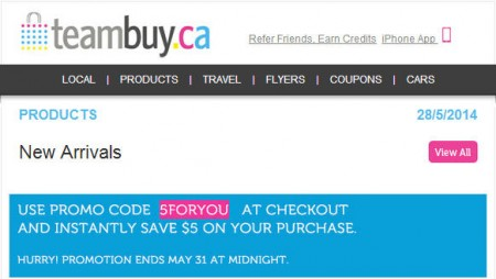 TeamBuy.ca - Extra $5 Off Promo Code (Until May 31)