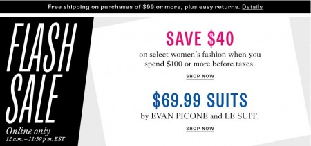 TheBay.com Flash Sale - Save $40 on select Women's Fashion and 65 Off select Women's Suits (May 14)