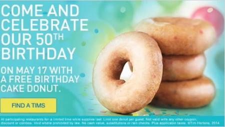 Tim Hortons FREE Birthday Cake Donut (May 17)