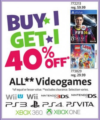 Toys R Us Video Games - Buy 1, Get 1 40 Off (May 9-15)