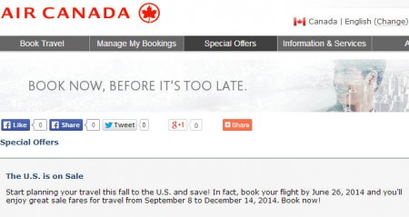 Air Canada Canada to USA Seat Sale (Book by June 26)