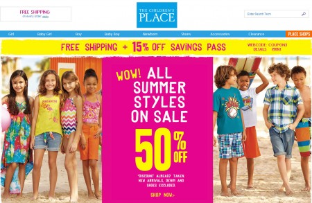 Children's Place 50 Off All Summer Styles + Extra 15 Off Coupon