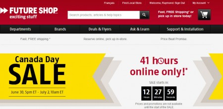 Future Shop Canada Day Sale - 41 Hours Online Only (June 30 - July 2)